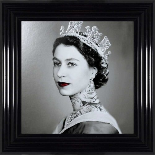 Queen Elizabeth - Neck Tattoos - Glitter - Black Frame