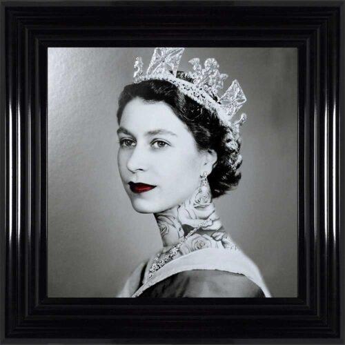 Queen Elizabeth - Neck Tattoos - Glitter - Black Frame