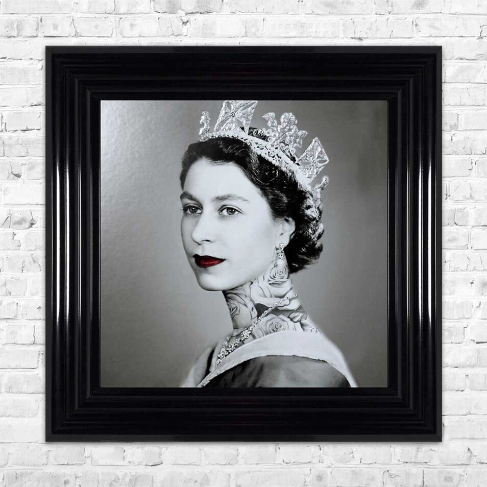Queen Elizabeth - Neck Tattoos - Glitter - Black Frame - Mounted