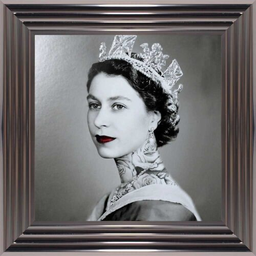 Queen Elizabeth - Neck Tattoos - Glitter - Metallic Frame