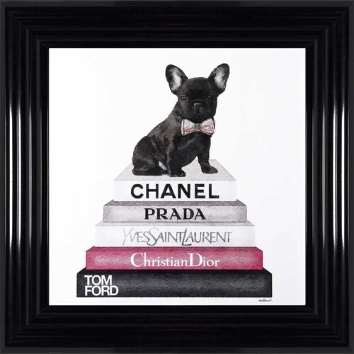 French Bulldog - Pink Bowtie - Glitter - Black Frame