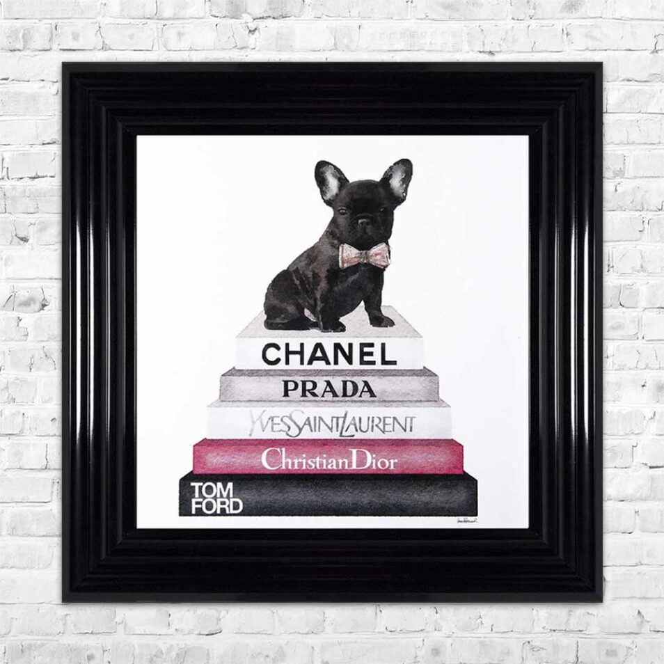 French Bulldog - Pink Bowtie - Glitter - Black Frame - Mounted