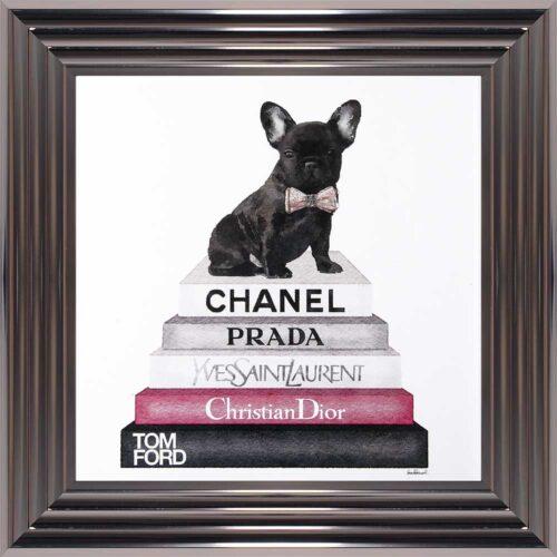 French Bulldog - Pink Bowtie - Glitter - Metallic Frame