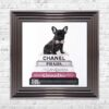 French Bulldog - Pink Bowtie - Glitter - Metallic Frame - Mounted