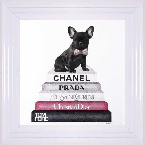 French Bulldog - Pink Bowtie - Glitter - White Frame