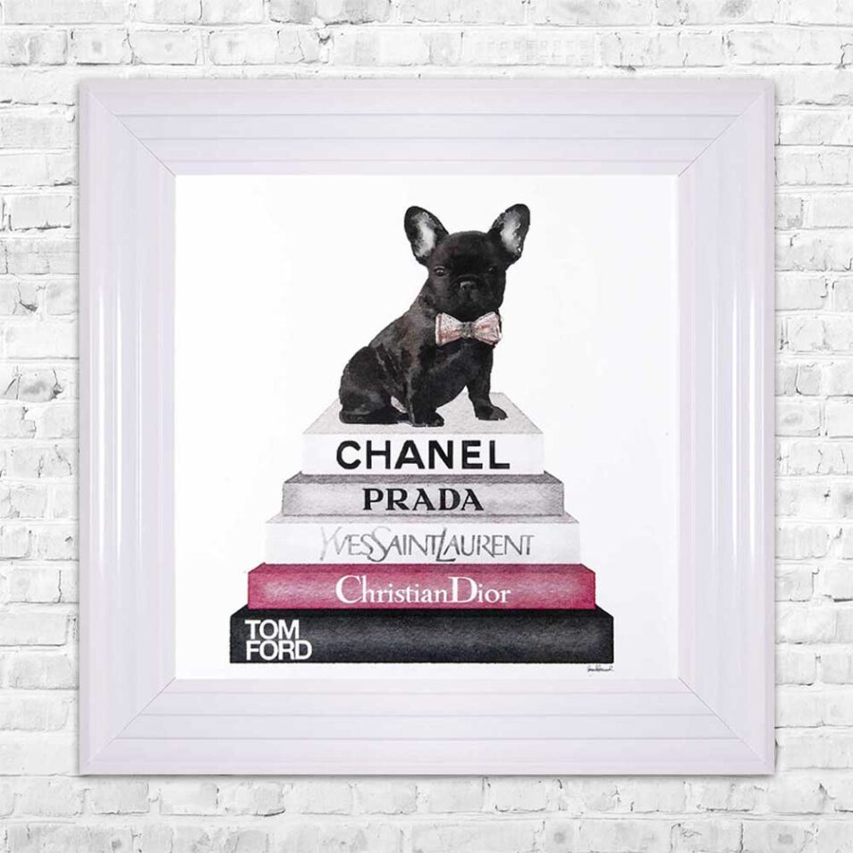 French Bulldog - Pink Bowtie - Glitter - White Frame - Mounted