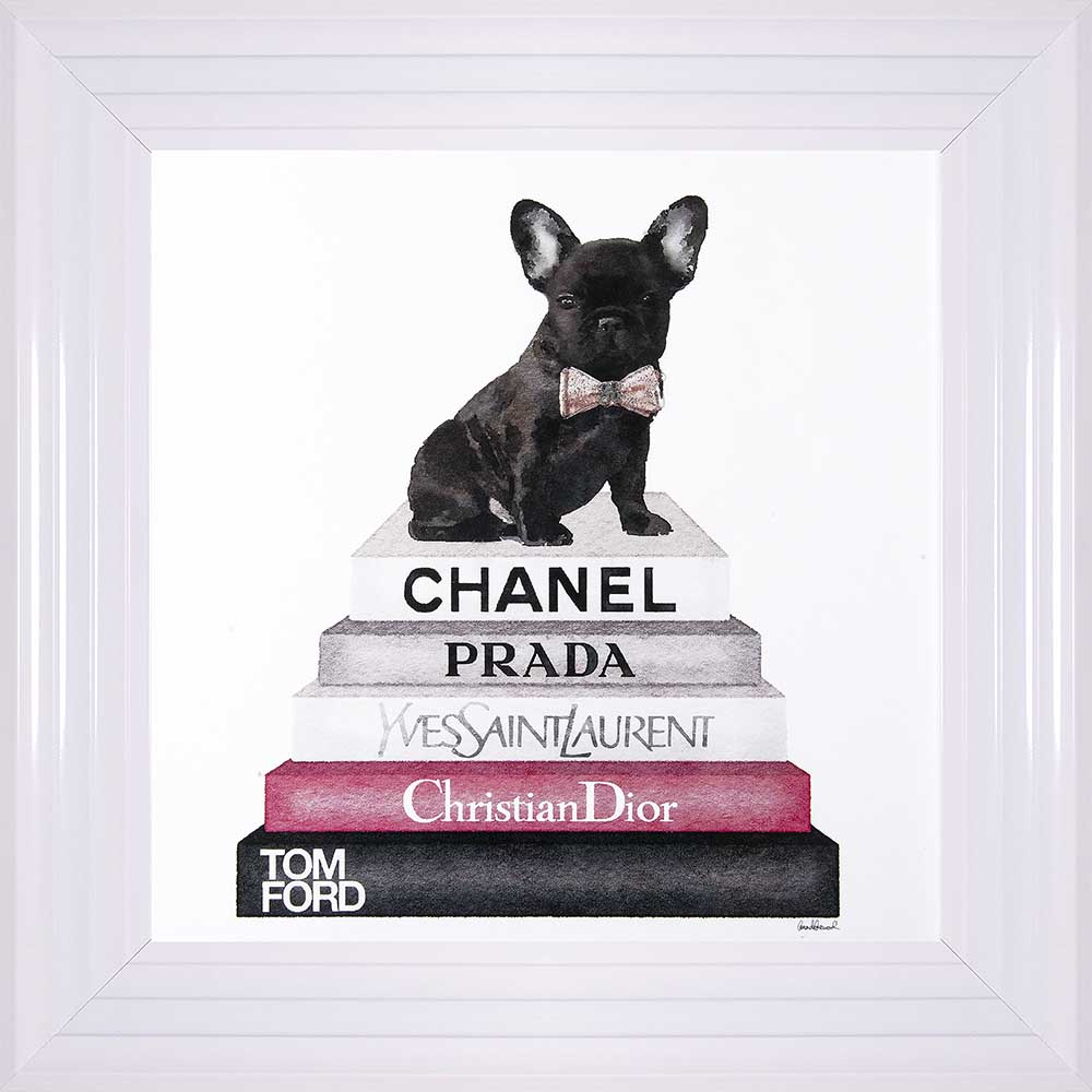 """French Bulldog In A Bowtie - """"Pink Frenchie"""" (White Frame)"""