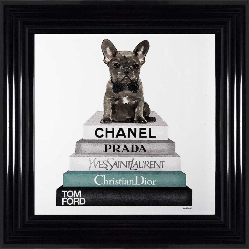 French Bulldog - Teal Bowtie - Glitter - Black Frame
