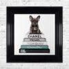 French Bulldog - Teal Bowtie - Glitter - Black Frame - Mounted