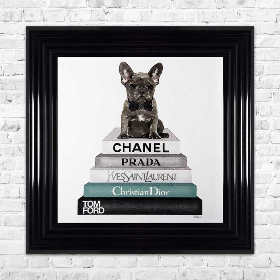 French Bulldog - Teal Bowtie - Glitter - Black Frame - Mounted