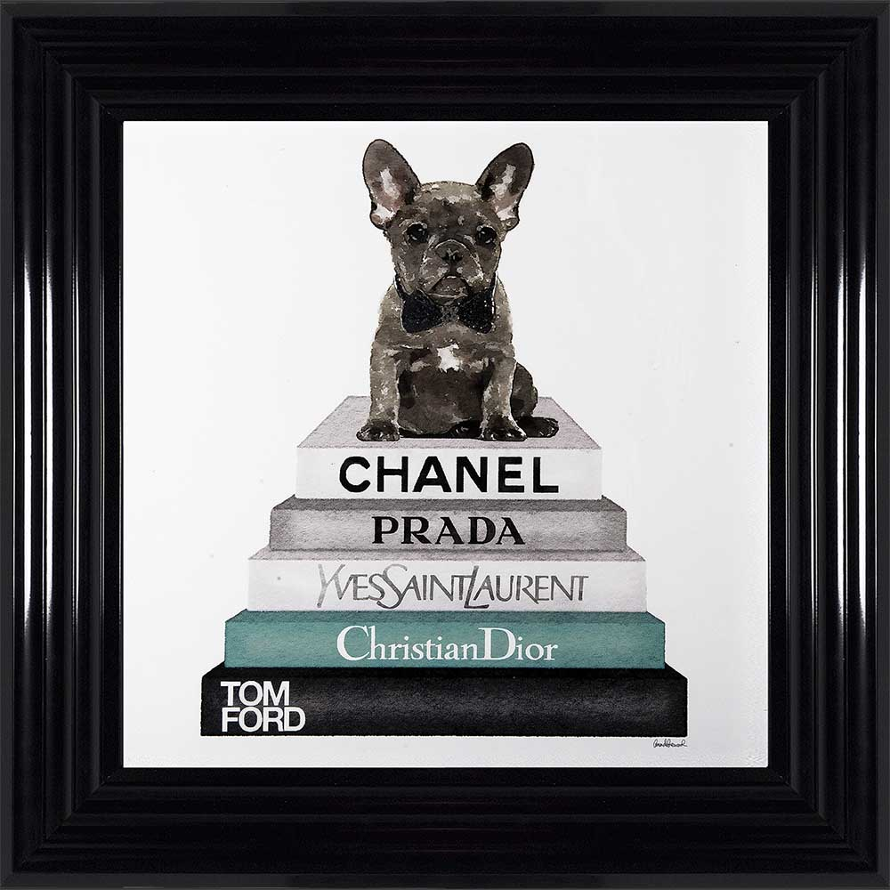 "French Bulldog In A Bowtie - ""Teal Frenchie"" (Black 75 Frame)"
