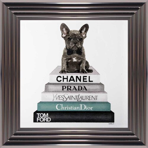 French Bulldog - Teal Bowtie - Glitter - Metallic Frame