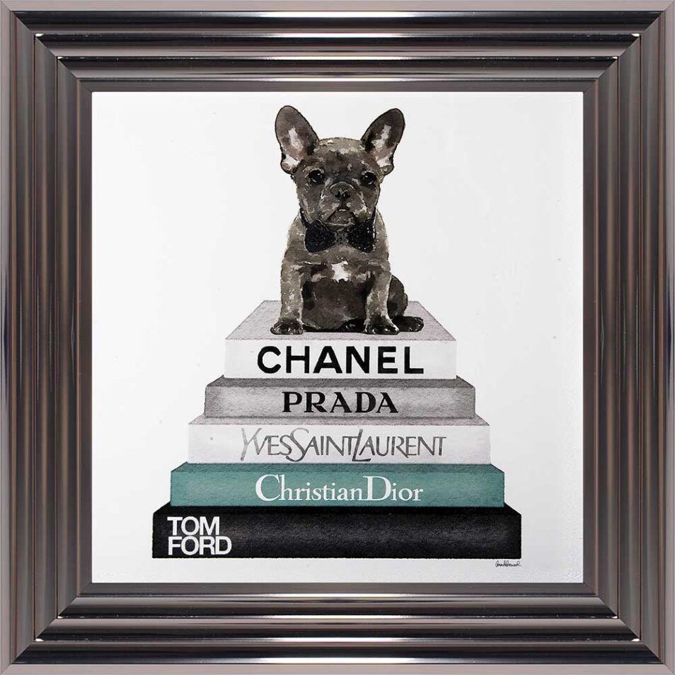 French Bulldog - Teal Bowtie - Glitter - Metallic Frame