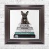 French Bulldog - Teal Bowtie - Glitter - Metallic Frame - Mounted