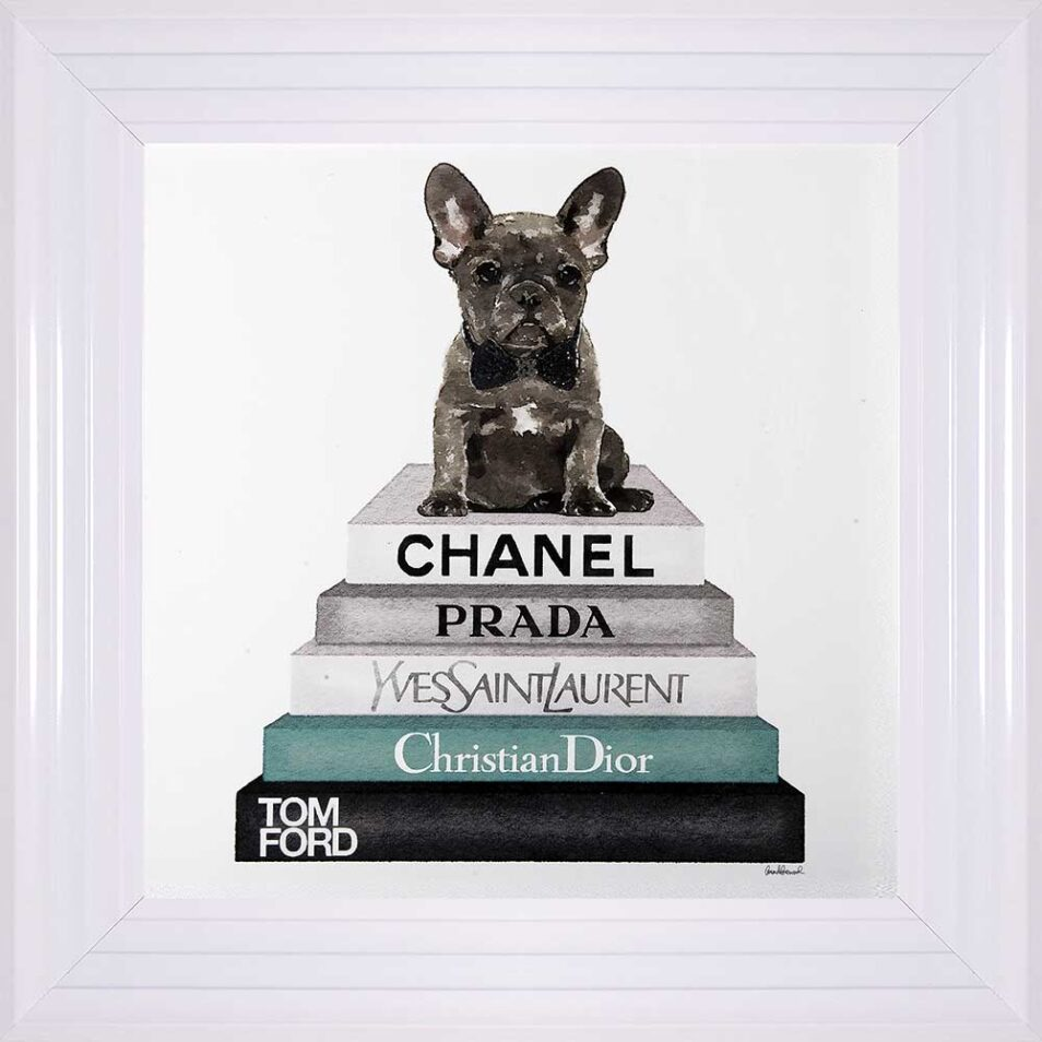 French Bulldog - Teal Bowtie - Glitter - White Frame