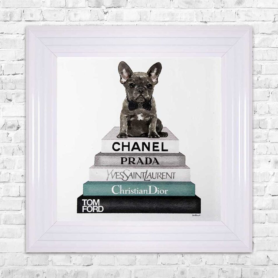 French Bulldog - Teal Bowtie - Glitter - White Frame - Mounted