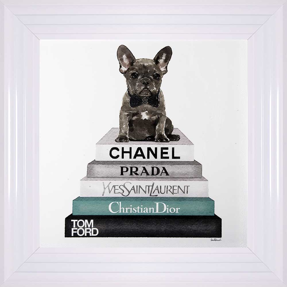 "French Bulldog In A Bowtie - ""Teal Frenchie"" (White 55 Frame)"