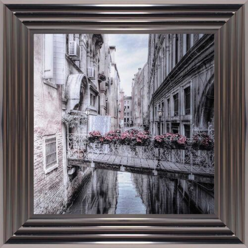 Venice Walkway - Flat Bridge - Flowers - Metallic Frame