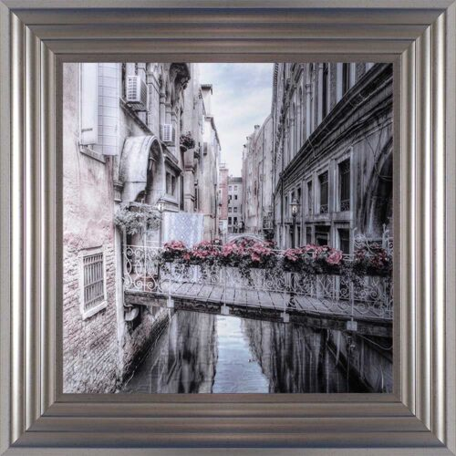 Venice Walkway - Flat Bridge - Flowers - Silver Frame