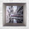 Venice Walkway - Flat Bridge - Flowers - Silver Frame - Mounted