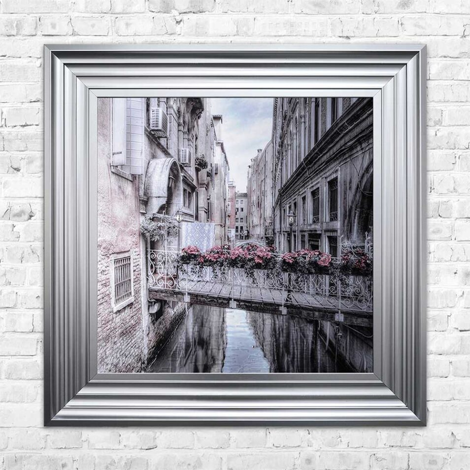 Venice Walkway - Flat Bridge - Flowers - Steel Frame - Mounted