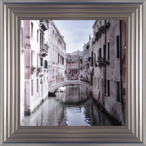 Venice Bridge - Curved Bridge - Flowers - Silver Frame