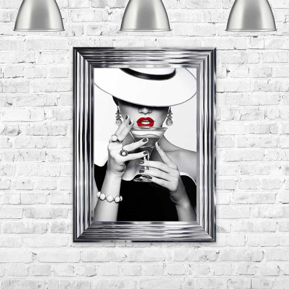 Drinks - Red Lips - Flat White Hats - Cocktails - Chrome Frame - Mounted