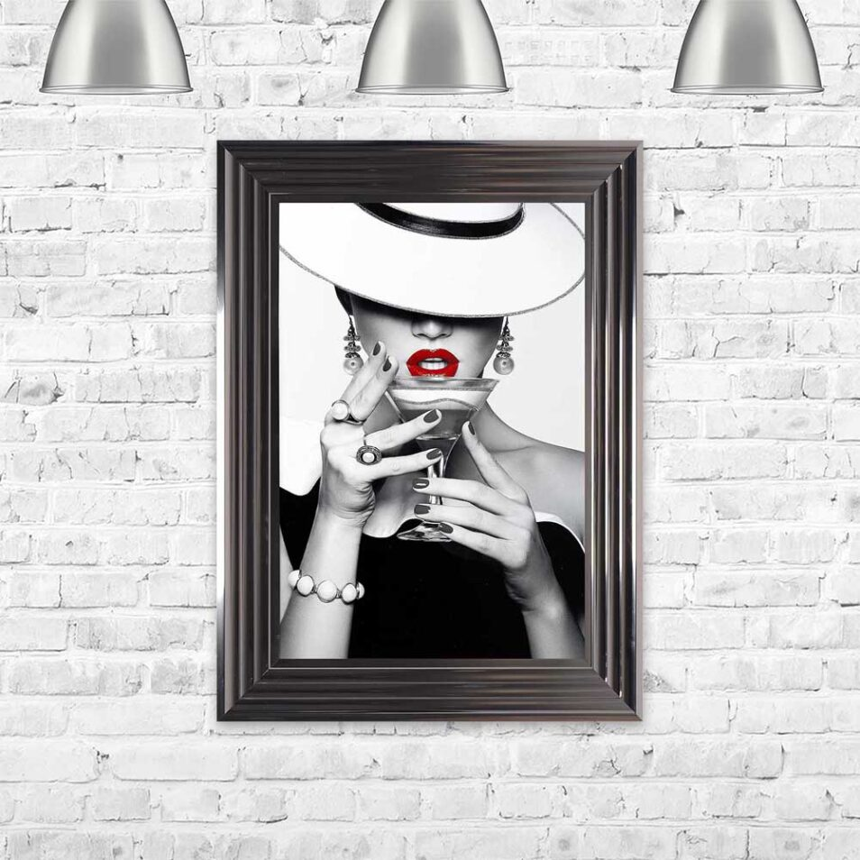 Drinks - Red Lips - Flat White Hats - Cocktails - Metallic Frame - Mounted