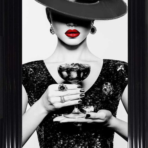 Black Hat - Black Dress - Black Drink - Red Lips - Black Frame