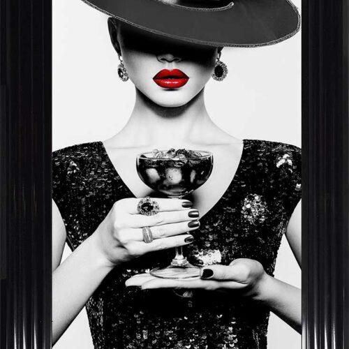 Black Hat - Black Dress - Black Drink - Red Lips - Black Frame