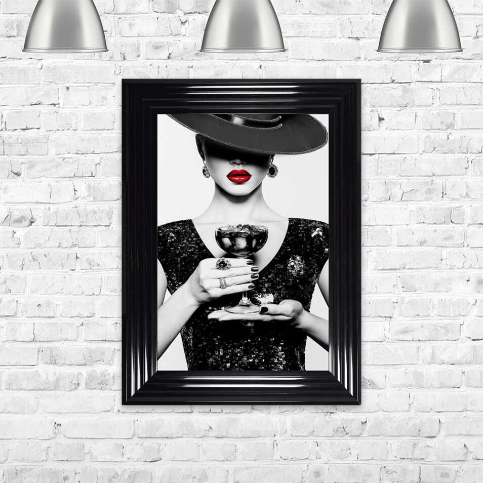Black Hat - Black Dress - Black Drink - Red Lips - Black Frame - Mounted