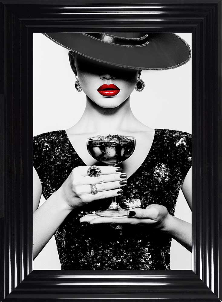 Hats, Drinks And Dress Of Black (Black Frame)