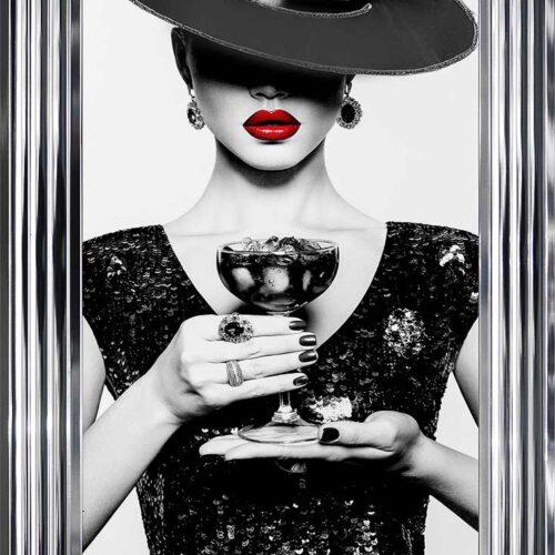 Black Hat - Black Dress - Black Drink - Red Lips - Chrome Frame