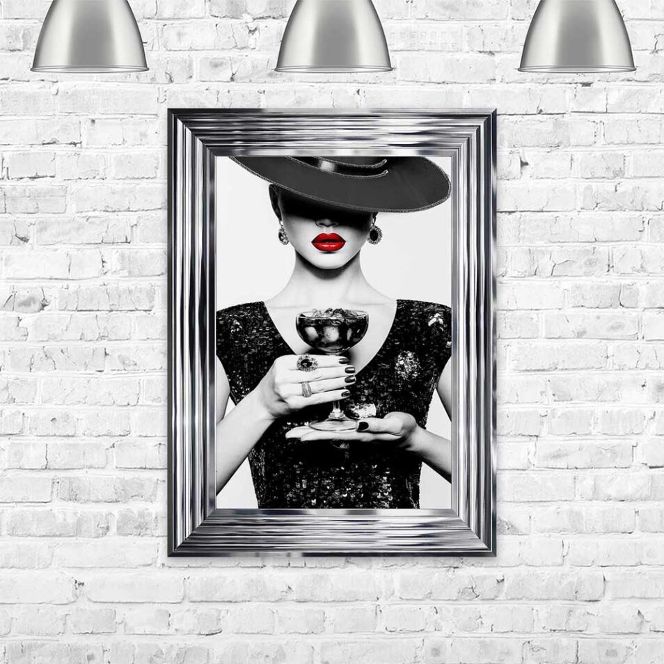 Black Hat - Black Dress - Black Drink - Red Lips - Chrome Frame - Mounted
