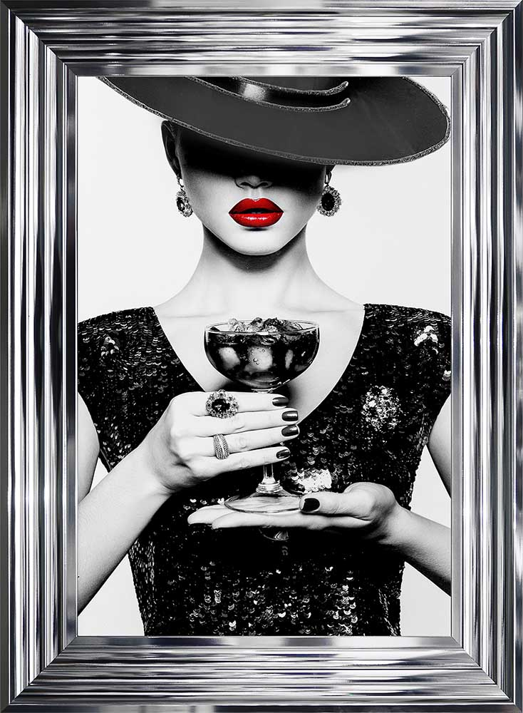 Black Hat - Black Dress - Black Drink - Red Lips - Chrome Frame