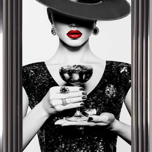 Black Hat - Black Dress - Black Drink - Red Lips - Metallic Frame