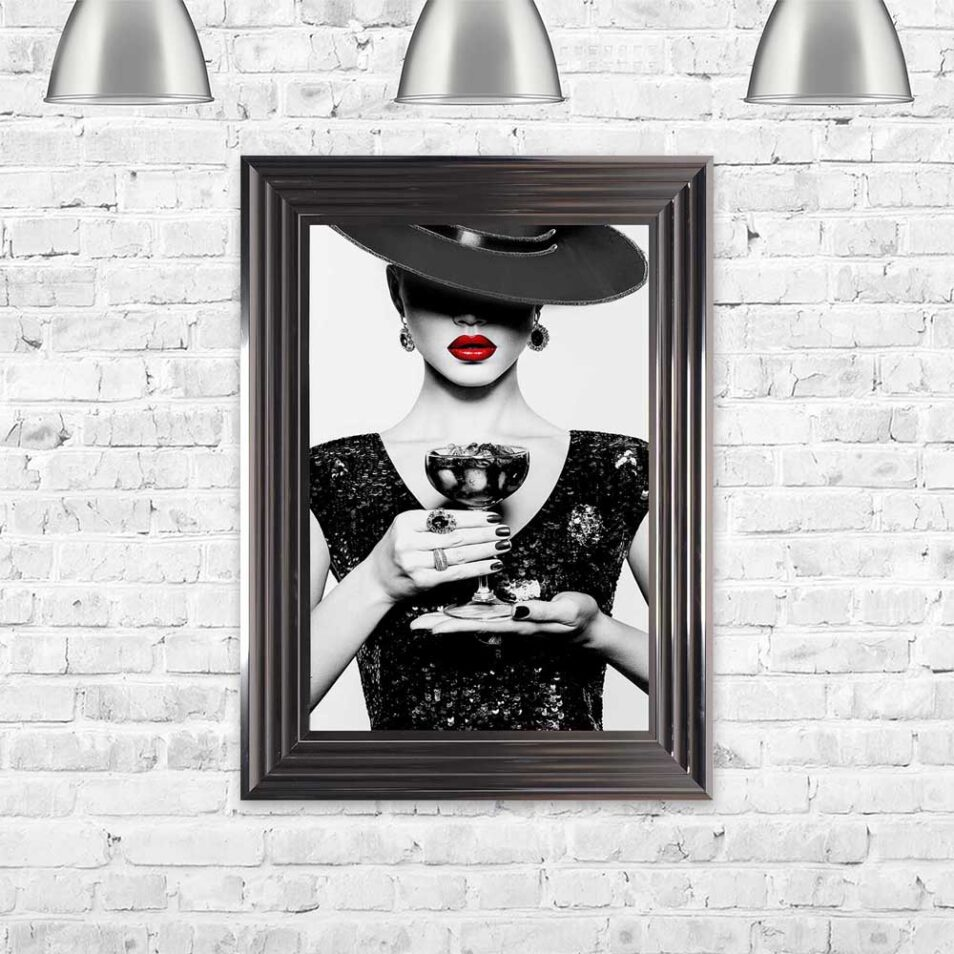 Black Hat - Black Dress - Black Drink - Red Lips - Metallic Frame - Mounted