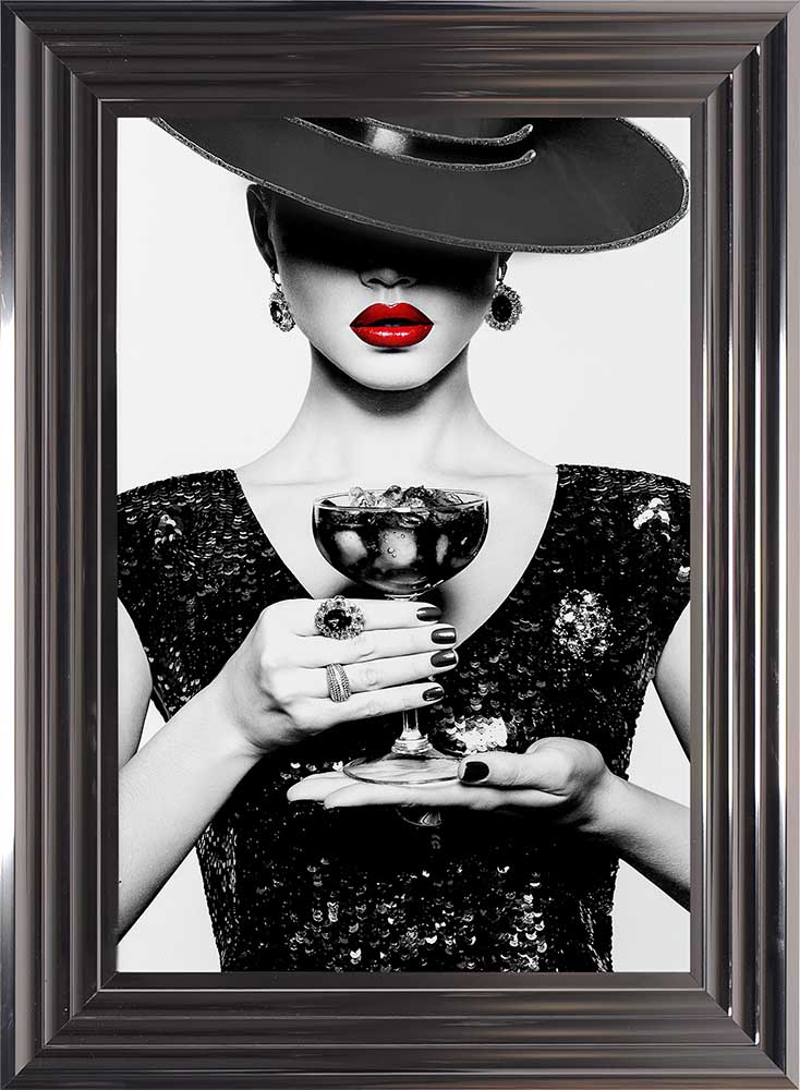Hats, Drinks And Dress Of Black (Metallic Frame)