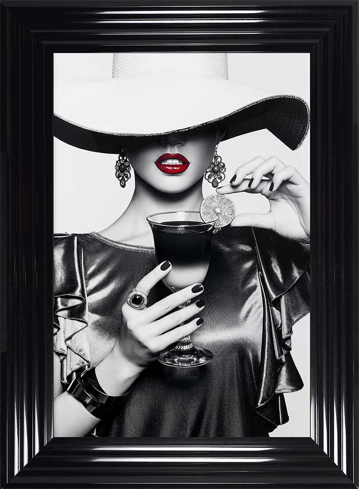 Retro Chic - Floppy Hats - Cool Drinks - Black Frame