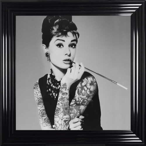Audrey Hepburn - Classic Beauty - Tattooed Audrey - Black Frame
