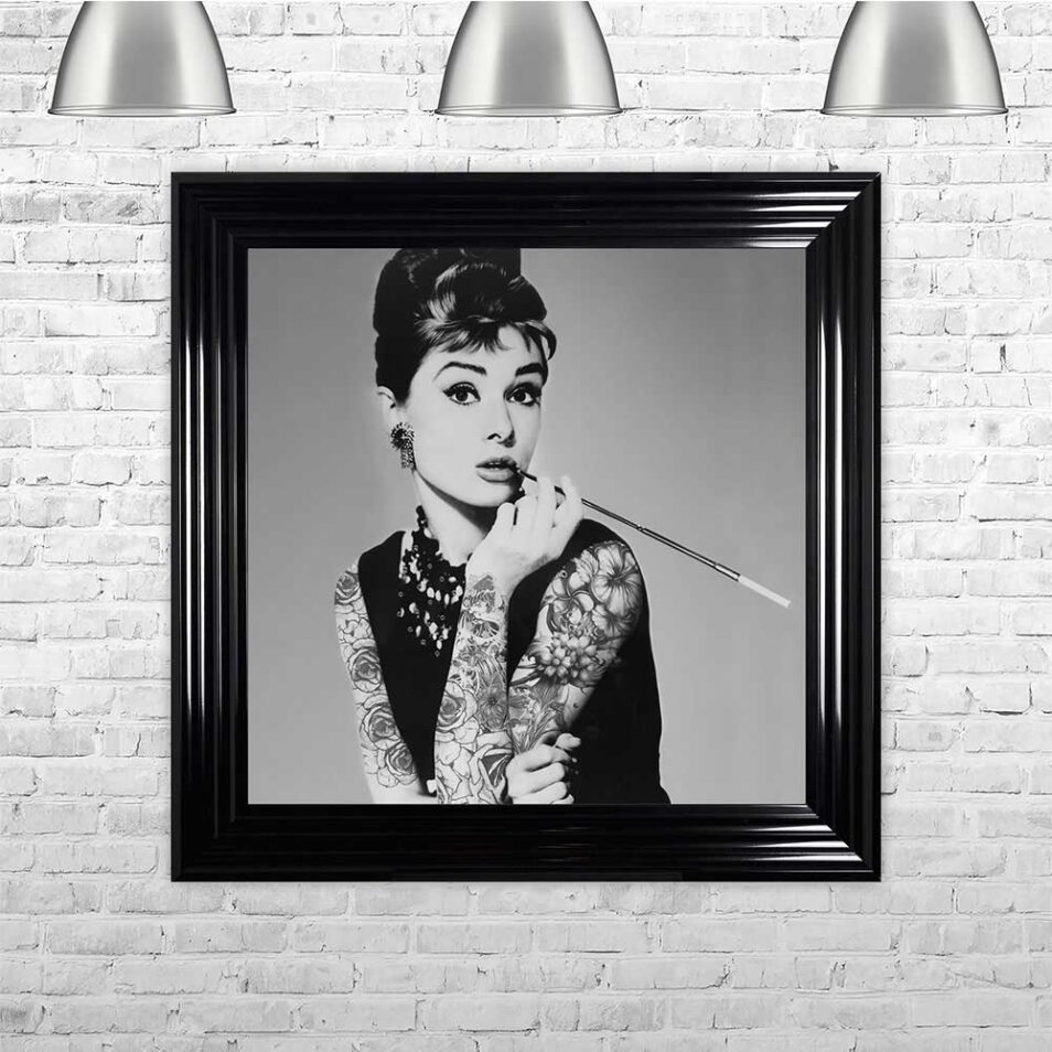 Audrey Hepburn - Classic Beauty - Tattooed Audrey - Black Frame - Mounted