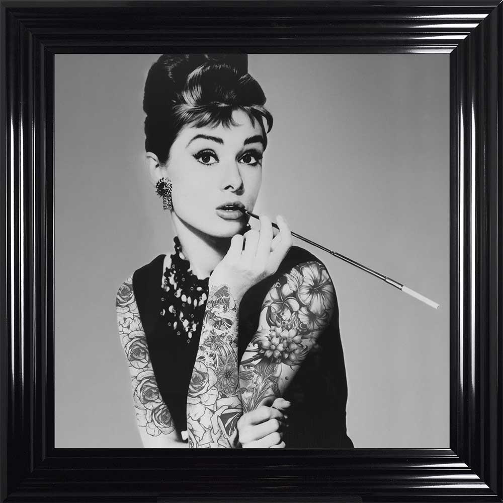 "Audrey Hepburn - Classic ""Inked"" Beauty (Black 75 Frame)"