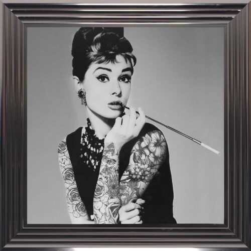 Audrey Hepburn - Classic Beauty - Tattooed Audrey - Metallic Frame