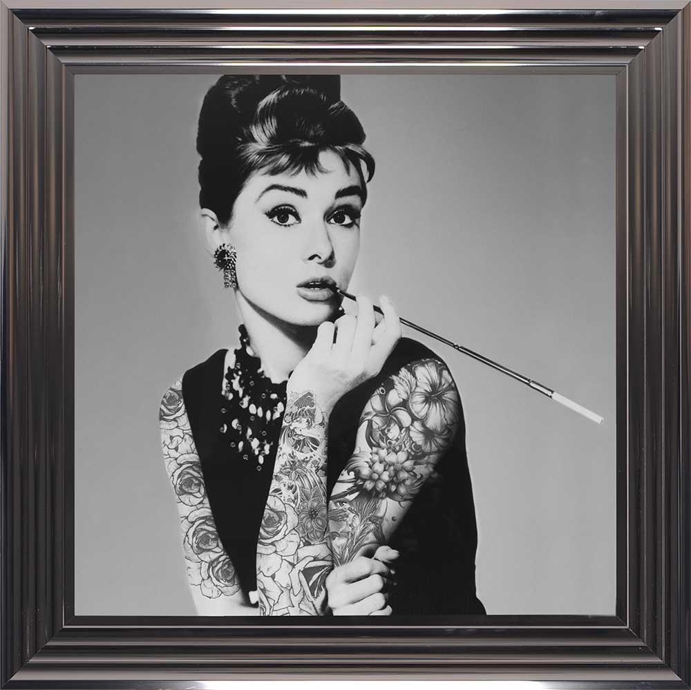 "Audrey Hepburn - Classic ""Inked"" Beauty (Metallic 75 Frame)"