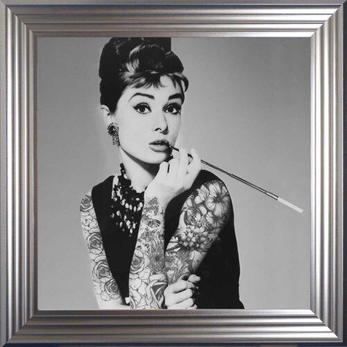 Audrey Hepburn - Classic Beauty - Tattooed Audrey - Silver Frame