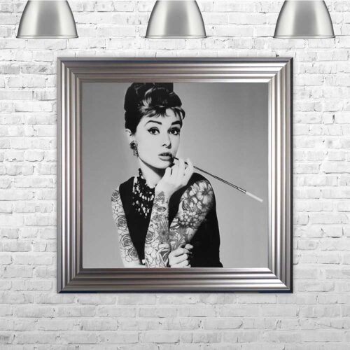 Audrey Hepburn - Classic Beauty - Tattooed Audrey - Silver Frame - Mounted