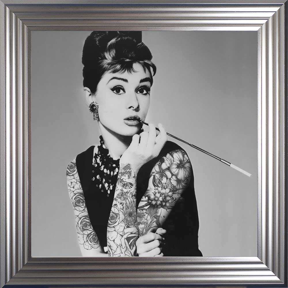 "Audrey Hepburn - Classic ""Inked"" Beauty (Silver 75 Frame)"