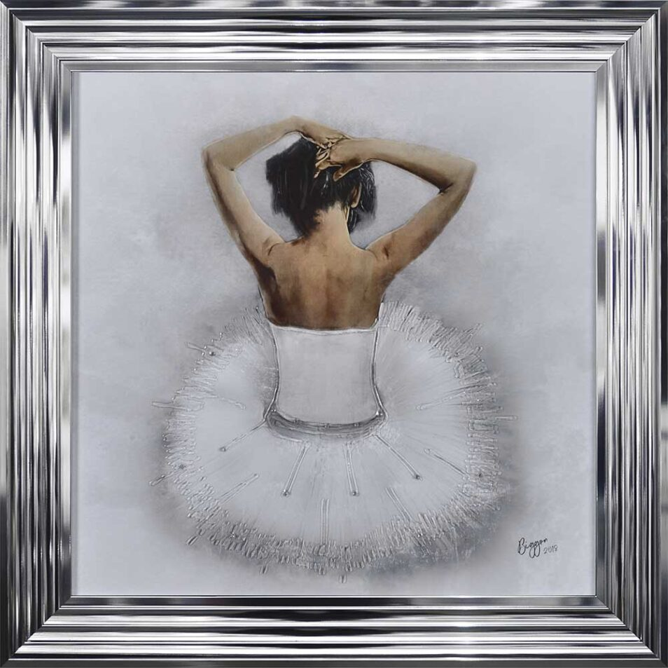 White Ballerina - White Tutu - Back - Sparkle - Chrome Frame