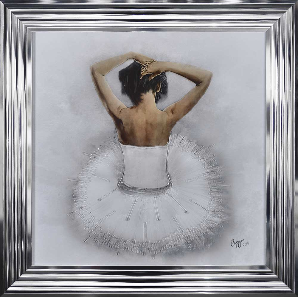 Seated White Ballerina (Chrome Frame)