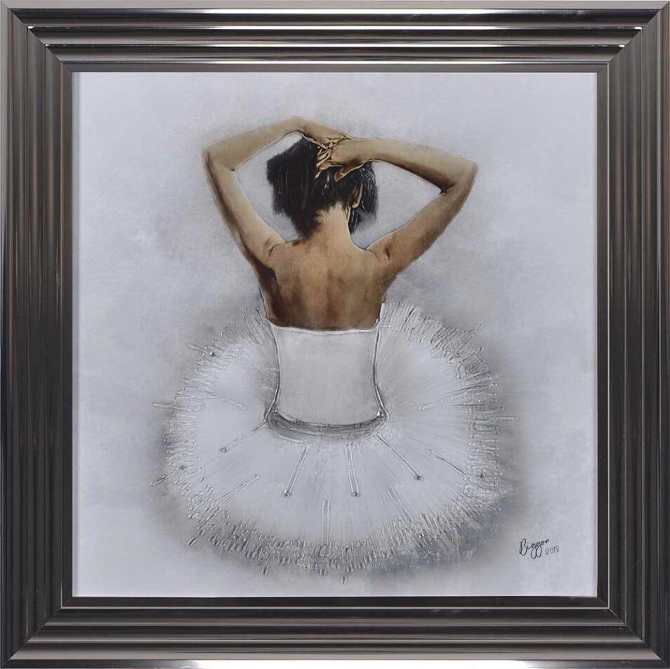 White Ballerina - White Tutu - Back - Sparkle - Metallic Frame